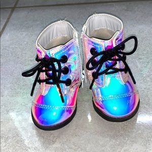 Holographic baby girl boots